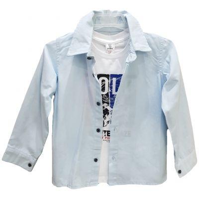 Camasa pentru baieti, model sport cu maneca lung, de culoare bleu cu tricou