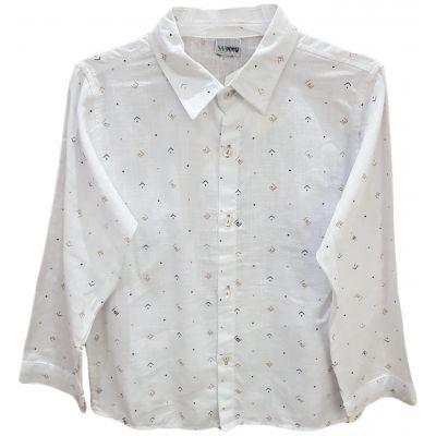 Camasa pentru baieti, de culoare alb cu motive geometrice