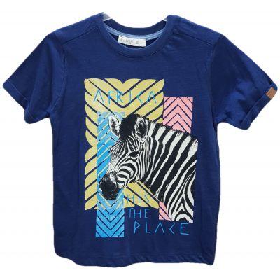 Tricou de culoare bleumarin si imprimeu zebra