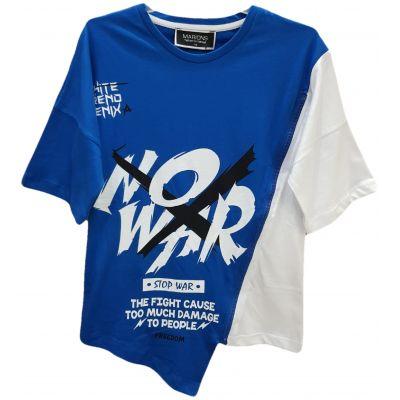 Tricou pentru baieti, cu maneca scurta, model asimetric, de culoare albastru cu alb