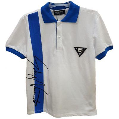 Tricou pentru baieti cu maneca scurta si rever, alb cu albastru