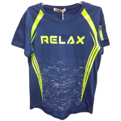 Tricou pentru baieti cu maneca scurta, de culoare albastru cu dungi si print fosforescent