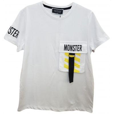 Tricou pentru baieti, cu maneca scurta, de culoare alb cu buzunar