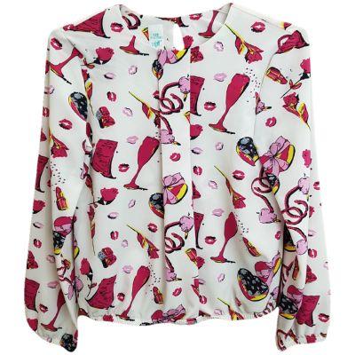 Bluza pentru fete, cu maneca lunga, de culoare alb cu imprimeu colorat