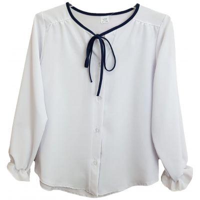 Bluza pentru fete, de culoare alb cu snur bleumarin la gat