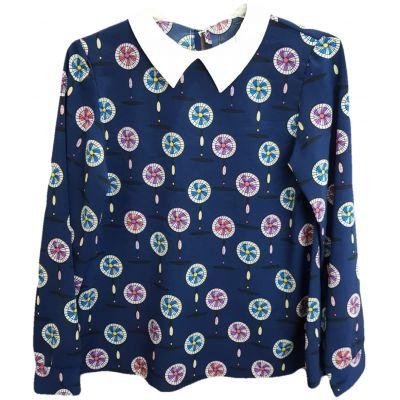 Bluza pentru fete, cu maneca lunga, de culoare bleumarin cu imprimeu geometric