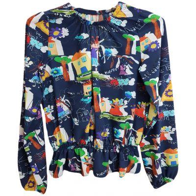 Bluza pentru fete, cu maneca lunga, de culoare bleumarin cu imprimeuri vesele