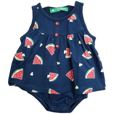 Body pentru bebe fetite, de culoare bleumarin cu imprimeu cu pepene