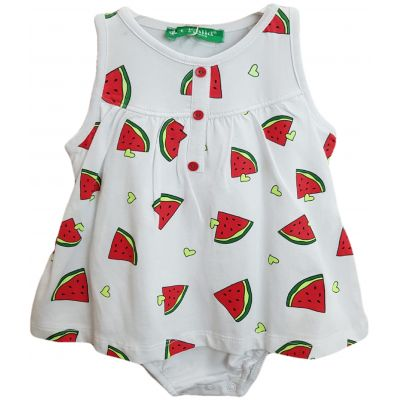 Body pentru bebe fetite, de culoare alb cu imprimeu cu pepene