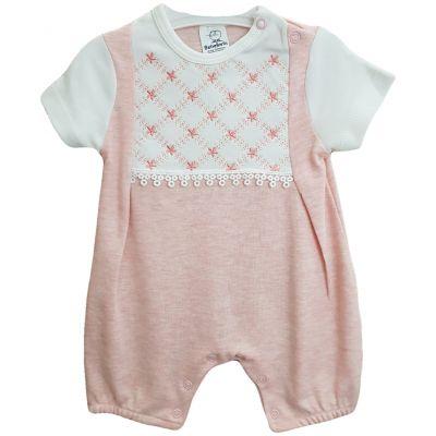 Body pentru bebe fetite, de culoare alb cu roz somon