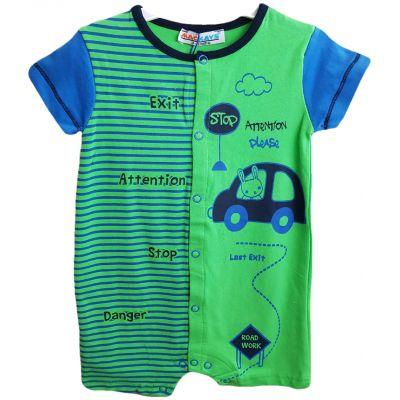 Body pentru bebe baieti, cu deschidere in capse, de culoare verde cu imprimeu colorat