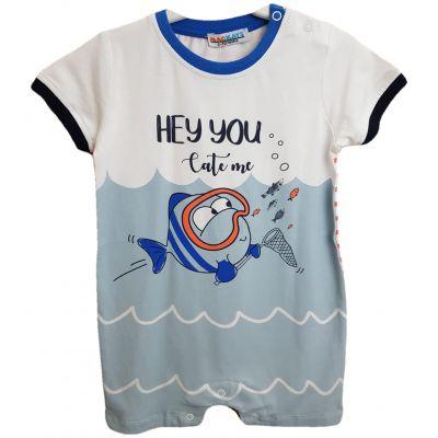 Body pentru bebe baieti, de culoare alb cu bleu si imprimeu pe fata