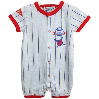 Body pentru bebe baieti, cu deschidere in capse, de culoare rosu cu gri si dungulite