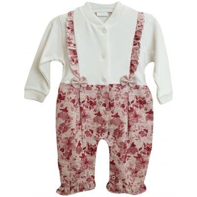 Salopeta pentru bebe fetite, cu deschidere in capse, de culoare ivory si roz pal cu floricele