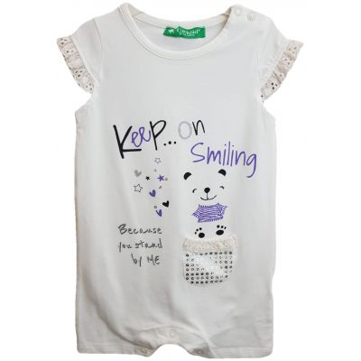 Body pentru bebe fetite, de culoare ivory cu imprimeu pe fata