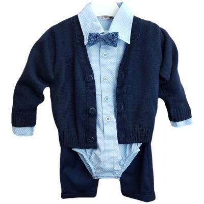 Compleu pentru bebe baieti, compus din patru piese, camasa body , papion, jacheta tricotata si pantalon