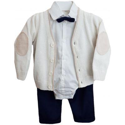 Compleu pentru bebe baieti, compus din patru piese, camasa tip body ivory, papion si pantaloni cu jacheta tricotata