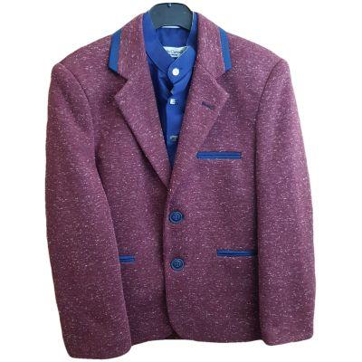 Sacou din stofa, pentru baieti, de culoare bordo deschis cu bordura de culoare bleumarin