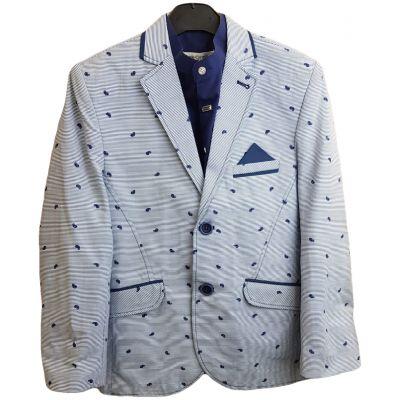 Sacou din stofa subtire, pentru baieti, de culoare bleu pal cu dungi bleumarin