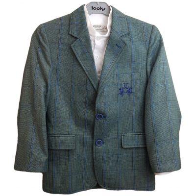 Sacou din stofa, pentru baieti, de culoare verde cu dungi albastre