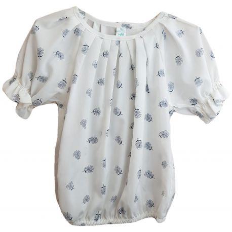 Bluza pentru fete, cu maneca scurta, de culoare alb cu flori negre