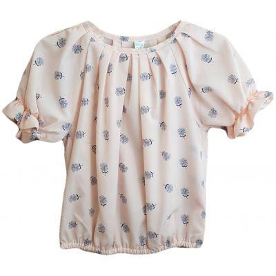 Bluza pentru fete, cu maneca scurta, de culoare corai cu floricele negre