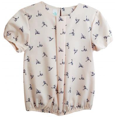 Bluza pentru fete, cu maneca scurta, de culoare roz pudra, cu imprimeuri pasari colibri