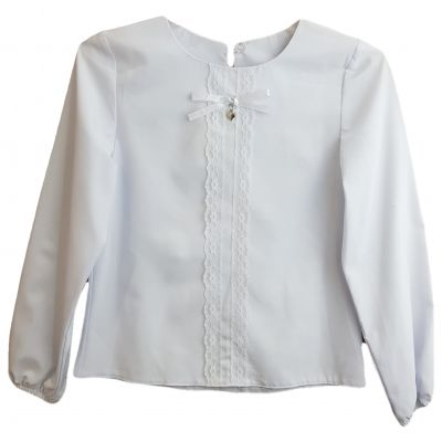 Bluză albă și dantelă cu fundă pe față