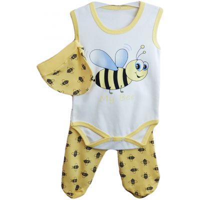 Compleu pentru bebelusi, compus din trei piese, body,  pantalon si fes de culoare galben