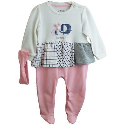 Salopeta pentru fetite, compus din doua piese, bentita si salopeta de culoare ivory cu roz