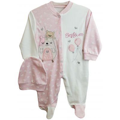 Salopeta pentru fetite, de culoare roz pal cu ivory si fes roz