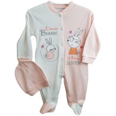 Salopeta pentru fetite, de culoare ivory cu roz pal si imprimeu cu iepurasi