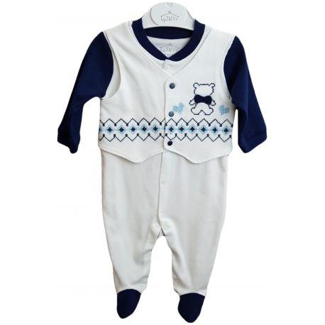 Salopeta pentru bebe baieti, alba cu maneci si botosei