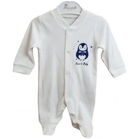 Salopeta pentru bebe baieti, de culoare alb cu imprimeu pinguin