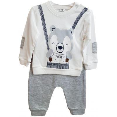 Compleu pentru baietei, compus din doua piese, tricou cu ursulet si pantalon gri deschis