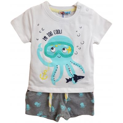Compleu pentru bebe baieti, compus din doua piese, tricou cu imprimeu caracatita si pantalon scurt