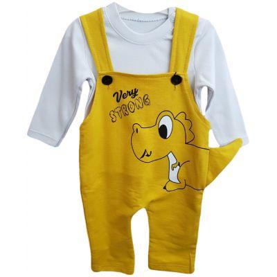 Compleu pentru bebe baieti, compus din doua piese, de culoare alb cu galben