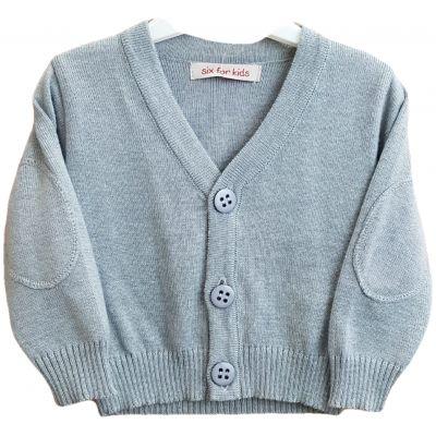 Jacheta tricotata pentru bebe baieti de culoare gri deschis