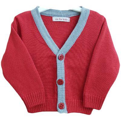 Jacheta tricotata pentru bebe baieti de culoare rosu cu gri
