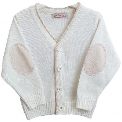 Jacheta tricotata pentru bebelusi de culoare ivory si crem