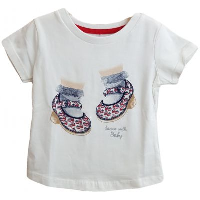 Tricou cu maneca scurta pentru fetite cu imprimeu papucei