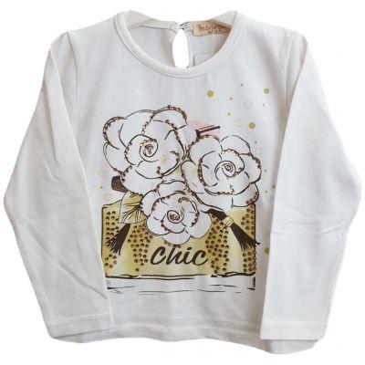 Tricou pentru bebe fetite cu imprimeu trandafiri pe fata
