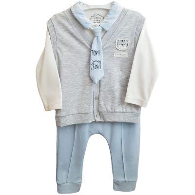 Compleu pentru bebe baieti de culoare bleu pal cu gri