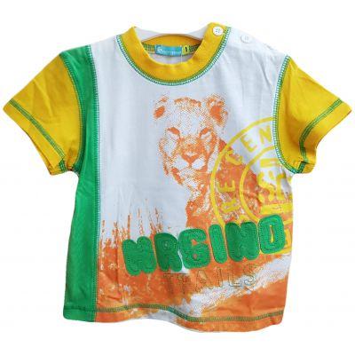 Tricou pentru bebe baieti de culoare galben, verde si alb