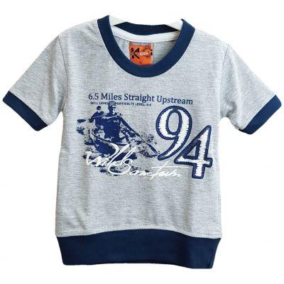 Tricou pentru bebe baieti de culoare gri deschis cu margini bleumarin