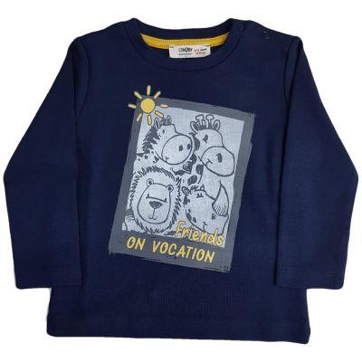 Tricou pentru bebe baieti bleumarin cu imprimeu animalute