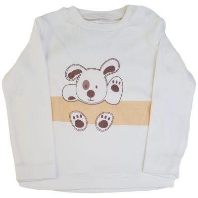 Tricou ivory cu imprimeu cățeluș