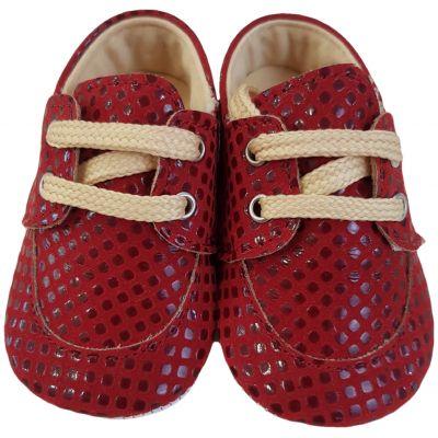 Pantofi roșii cu șnur crem