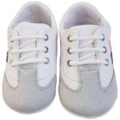 Adidași albi cu dungi roz și mov