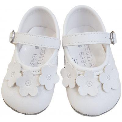 Pantofi albi cu floricele